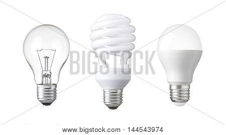 tungsten bulb fluorescent bulb and LED bulb. revolution of three generation Light bulb. evolution of energy saver bulb - Realistic photo image