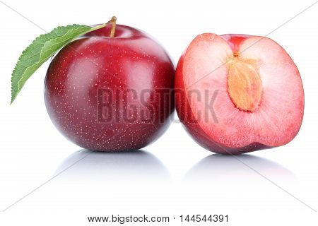 Plums Plum Fruit Isolated On White