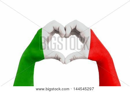 pray for italy man hands in the form of heart with the flag of italy on the white background concept for hope and helpful support for the Italy earthquake victims