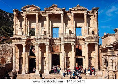 EPHESUS, TURKEY - SEPTEMBER 30, 2014: Iconic Front view of the Library of Celsus in Efes