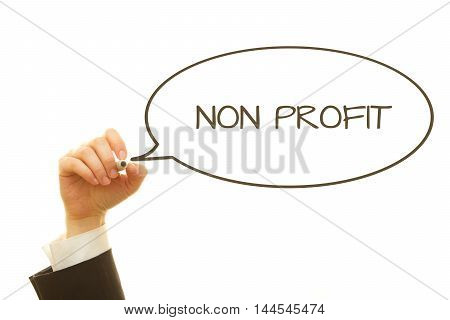 Woman hand writing NON PROFIT word with a marker isolated on white.
