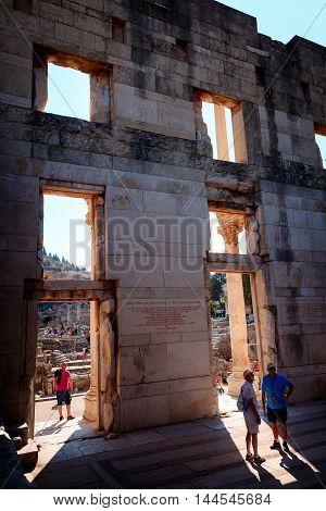EPHESUS TURKEY - SEPTEMBER 30 2014: Walls Inside the Library of Celsus in Efes