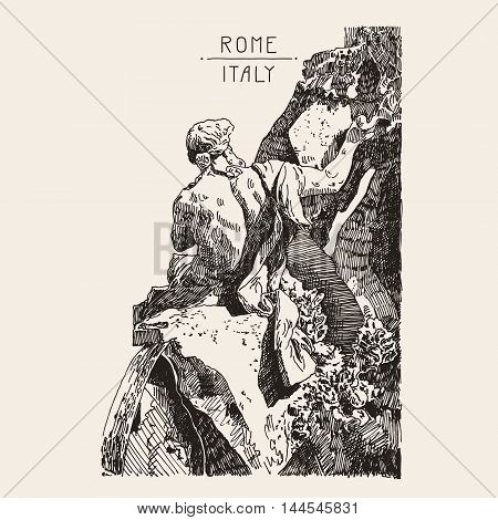 sketch hand drawing of marble sculpture in Piazza Navona, Fountain from Bernini Rome Italy famous cityscape, travel card, vector illustration