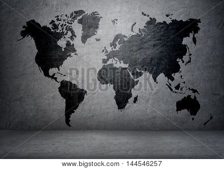 Black-colored world map on concrete wall. Continents and islands. Planet Earth. Global communication. Geography and mapping.