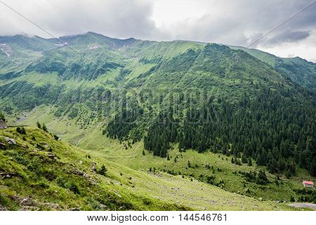 Aerial view from Transfagarasan Road in southern section of Carpathian Mountains in Romania
