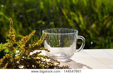 pure water in glass on wooden table with yellow flowers