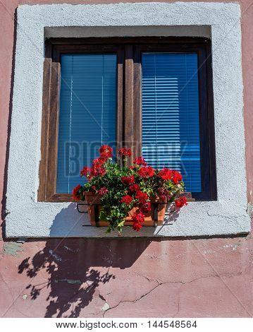 Window of tenement house in Sibiu city in Romania