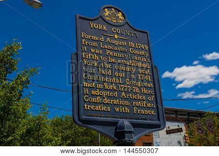 York PA - May 8 2016: A historical marker sign about York County Pennsylvania.