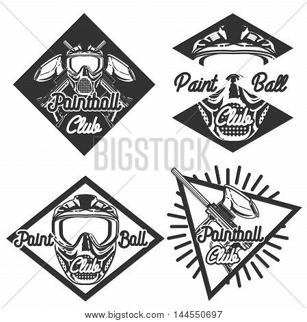 Vintage Paintball Team Logo Badge or Club Emblem Set with Gun and Mask