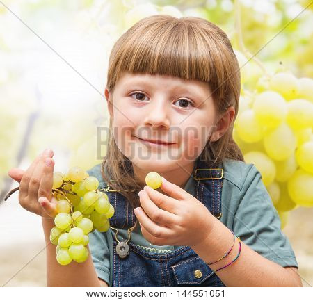 a beautiful Girl eating grapes in the vineyards