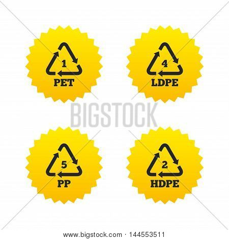 PET 1, Ld-pe 4, PP 5 and Hd-pe 2 icons. High-density Polyethylene terephthalate sign. Recycling symbol. Yellow stars labels with flat icons. Vector