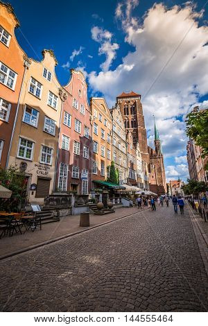 Gdansk Poland- September 19 2015:Colorful houses - tenements in old town Gdansk Poland