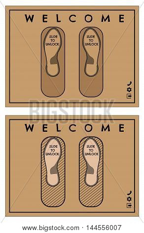 Door mat or rug design in web style with writing Slide to unlock and Welcome. Isolated illustration. Vector illustration