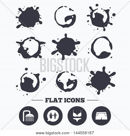 Paint, coffee or milk splash blots. Swimming pool icons. Shower water drops and swimwear symbols. WC Toilet speech bubble sign. Trunks and women underwear. Smudges splashes drops. Vector