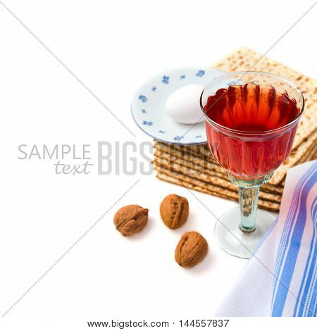 Jewish holiday Passover celebration with matzo and wine on white background