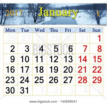 beautiful calendar for January 2016 with winter river