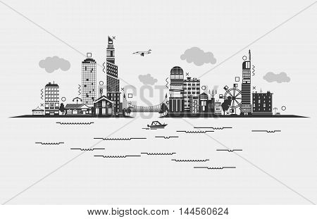 Black contoured buildings of a city on sea or river with boat, sky with clouds and airplane, bridge with car and ferris wheel. Panorama silhouette of skyscrapers at densely populated district of municipality