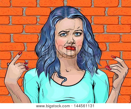 Girl with blue hair disgusted face and arms up brick wall background