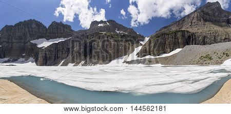 Panoramic View of Grinnell Glacier in Glacier National Park Montana United States.