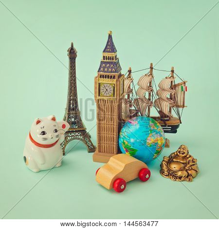 Travel around the world concept. Souvenir form around the world. Retro filter effect