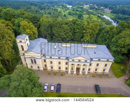 Aerial top view of Verkiai palace in Vilnius, Lithuania. Build by architects Marcin Knackfus and Laurynas Gucevicius in the Neoclassical style.