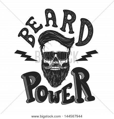 Beard power. Human skull with beard in sun glasses. T-shirt print design template. Vector illustration.