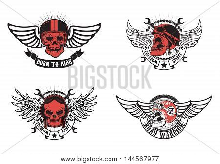 born to ride freedom spirit. Set of winged skulls in motorcycle helmets. Biker skull. Motorcycle racing. Vector illustration.
