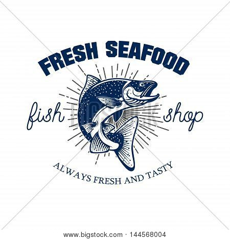 Fresh seafood. Seafood store emblem template. Salmon on white background. Vector illustration.