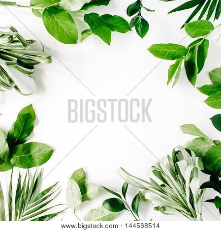 frame with flowers branches leaves and petals isolated on white background. flat lay overhead view
