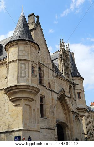 PARIS, FRANCE - MAY 13, 2015: It is fragment of facade Hotel de Sens which combines Gothic and Renaissance styles.