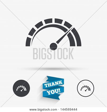 Tachometer sign icon. Revolution-counter symbol. Car speedometer performance. Flat icons. Buttons with icons. Thank you ribbon. Vector