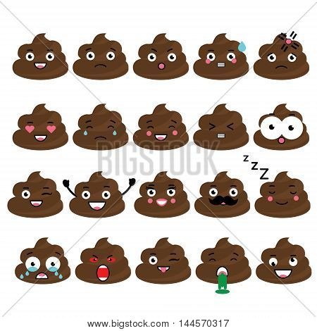 Cute vector poop emoji set. Turd emoticons isolated design elements icons for mobile applications chat and other business