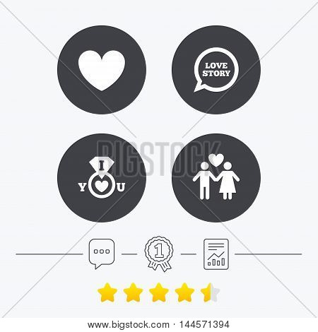 Valentine day love icons. I love you ring symbol. Couple lovers sign. Love story speech bubble. Chat, award medal and report linear icons. Star vote ranking. Vector