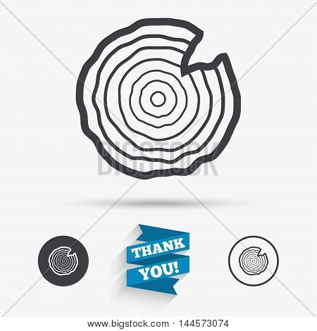 Wood sign icon. Tree growth rings. Tree trunk cross-section with nick. Flat icons. Buttons with icons. Thank you ribbon. Vector
