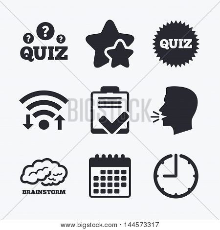 Quiz icons. Brainstorm or human think. Checklist symbol. Survey poll or questionnaire feedback form. Questions and answers game sign. Wifi internet, favorite stars, calendar and clock. Talking head. Vector