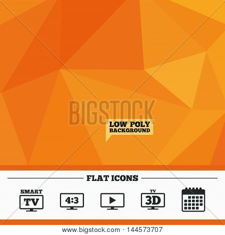 Triangular low poly orange background. Smart TV mode icon. Aspect ratio 4:3 widescreen symbol. 3D Television sign. Calendar flat icon. Vector