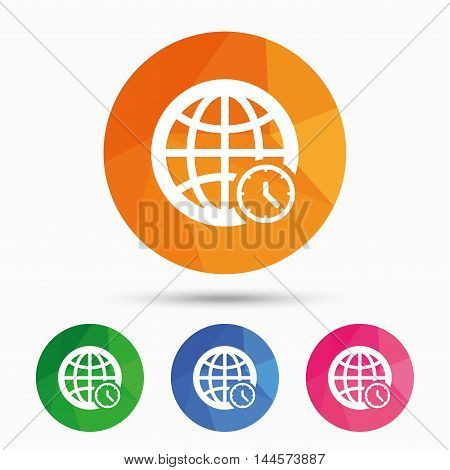World time sign icon. Universal time globe symbol. Triangular low poly button with flat icon. Vector