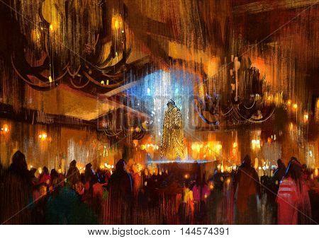 crowd of people praying at holy night, illustration painting