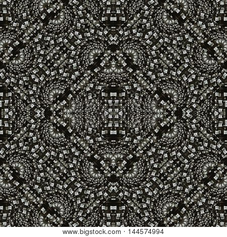 Digital abstract geometric seamless ancient style mosaic pattern background design in black and white colors