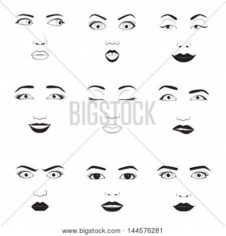 Girl emotion faces cartoon vector illustration. Woman emoji face icons and woman emoji face cute symbols. Woman emoji face happy vector and woman emoji face character symbols. Human expression sign
