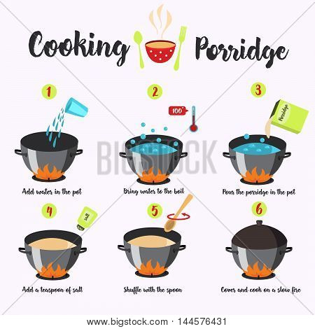 Infographics sequence of cooking porridge .Vektor illustration