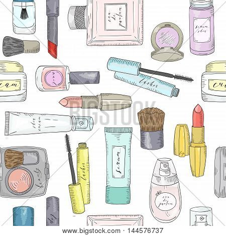 Hand drawn cosmetics pattern. Beauty and makeup. Sketch