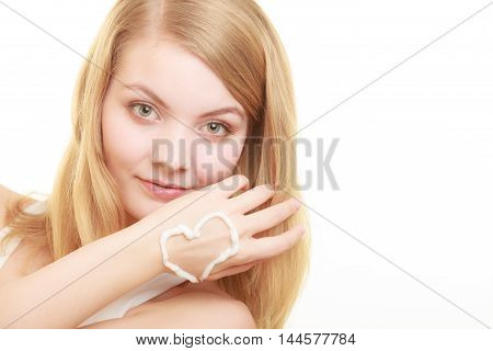 Woman With Cream On Palm.