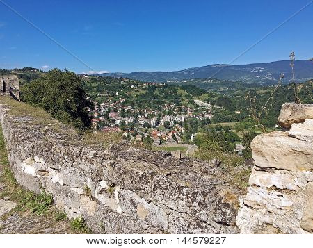 Travel to Europa.Panoramic view from old castle in the Jajce,Bosnia and Herzegovina