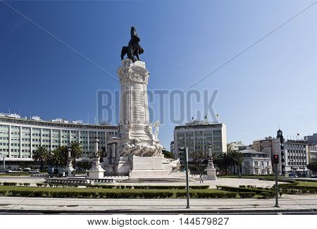 LISBON, PORTUGAL - October 15, 2015: Monument to the Marquis of Pombal the prime-minister who rebuilt the old town of Lisbon after the earthquake of 1755, on October 15, 2015 in Lisbon, Portugal