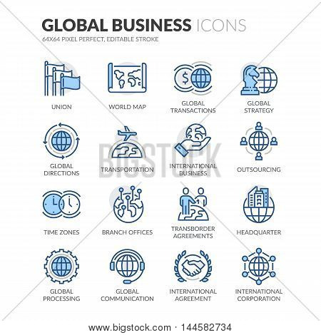 Simple Set of Global Business Related Color Vector Line Icons. Contains such Icons as Global Strategy, Outsourcing, Agreements and more. Editable Stroke. 64x64 Pixel Perfect.