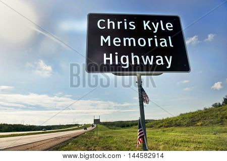 Midlothian Texas - Aug.282016 Chris Kyle Memorial Hwy part of Hwy 287 in Midlothian Texas opened in 2016. Chris Kyle was the American Sniper reported to be the deadliest sniper in history.