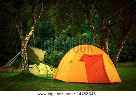 Small Orange Tent Camping. Wilderness Camping Theme. Campground Place.
