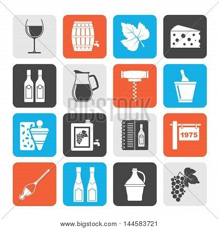 Silhouette Wine industry objects icons -vector icon set