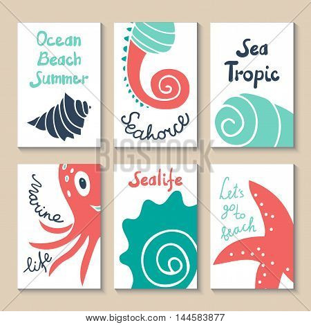 Cute doodle with shells, octopus, starfish and seahorse. Suitable for birthday, party, invitations, brochures. Vector illustration sea animals drawn by hand in cartoon style. Printable templates set.